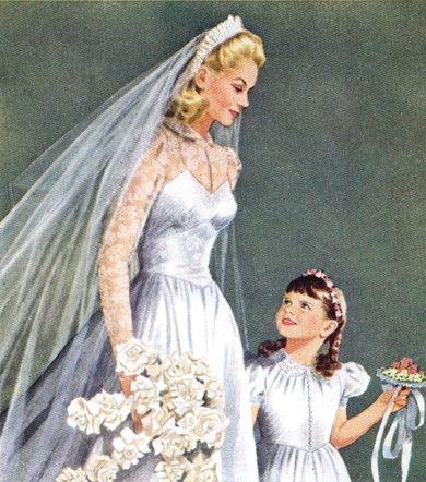 Beautiful vintage bride and flower girl.
