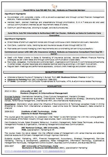 resume sample for marketing market research