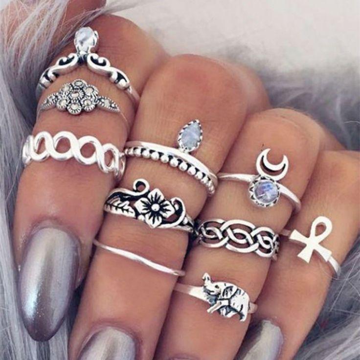 Boho Vintage Midi 10 Piece Ring Set