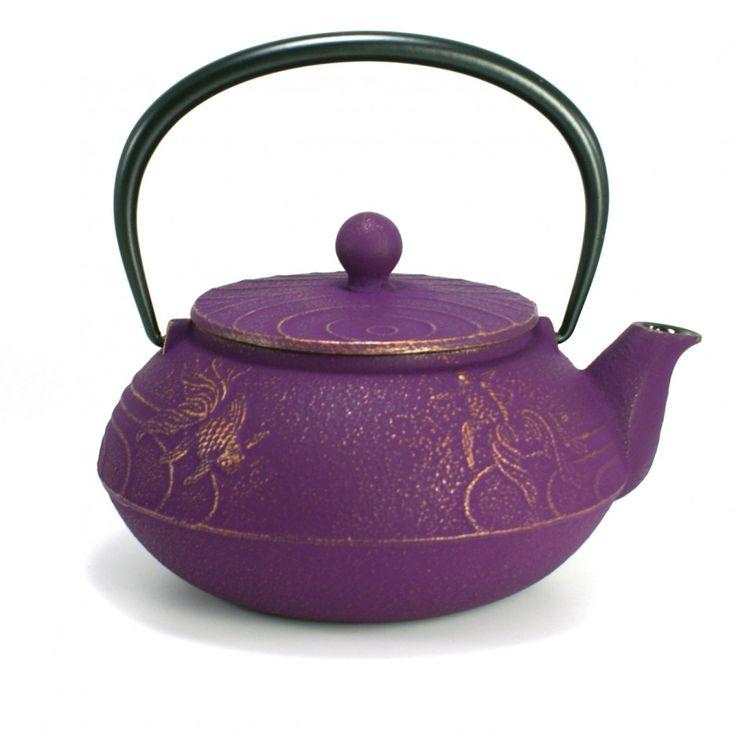 théière japonaise en fonte iwachu violette