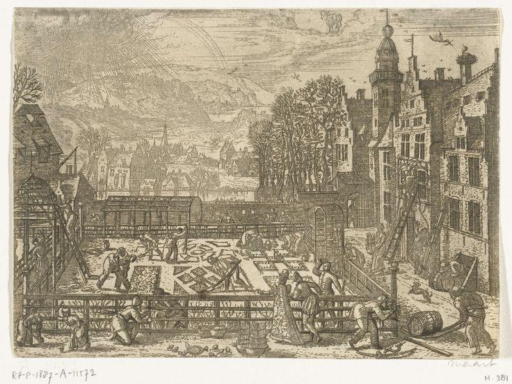 Pieter van der Borcht (I) | Maart, Pieter van der Borcht (I), 1545 - 1608 | Lentelandschap met voorjaarstaferelen. Maart in de plantmaand. Overal zijn mensen in de weer met het aanleggen van een tuin. Men plant, zaait, snoeit, ent en legt perkjes aan. Verder worden de bier- en wijnkelders opnieuw aangevuld. Middenboven het sterrenbeeld Ram. In deze serie van de twaalf maanden wordt elke maand afgebeeld met de voor haar typerende menselijke activiteiten, haar klimatologische kenmerken en haar…
