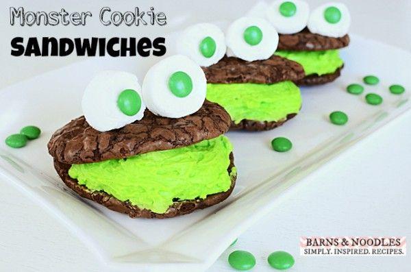 Halloween Monster Cookie Sandwiches Recipe - BarnsandNoodles.com