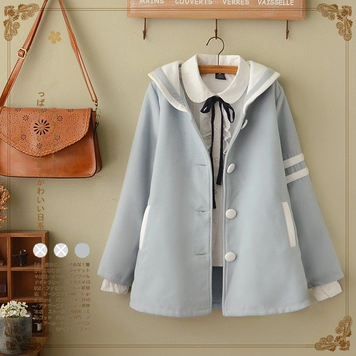"""Fashion students navy collar woolen coat Cute Kawaii Harajuku Fashion Clothing & Accessories Website. Sponsorship Review & Affiliate Program opening!who can resist this cute collar woolen coat i just can't use this coupon code """"cute8"""" to get all 10% off shop now for lowest price"""
