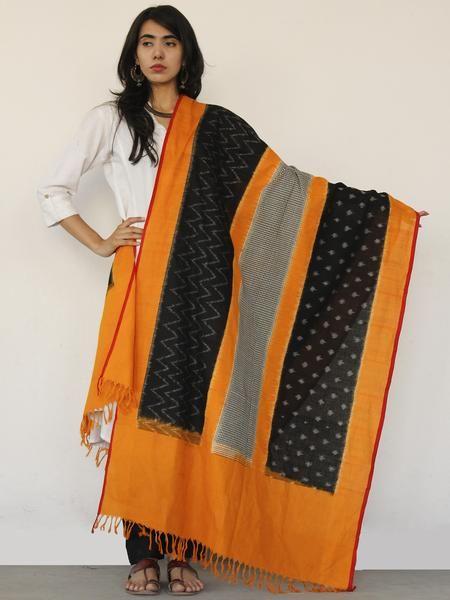Rust Orange Black Ikat Handwoven Pochampally Cotton Dupatta -  D04170150  #dupatta #Buydupatta #Onlinedupatta #Newdupatta #Buyonlinedupatta #Shopdupatta #Cottondupatta #blockprint #dupattas #womendupatta #longdupatta #ladiesdupatta #naturaldye #traditionalart #ethnic #indo-western #fushiondupatta #fashion #style #tyeanddye #ikat #ikkat #ikatdupatta