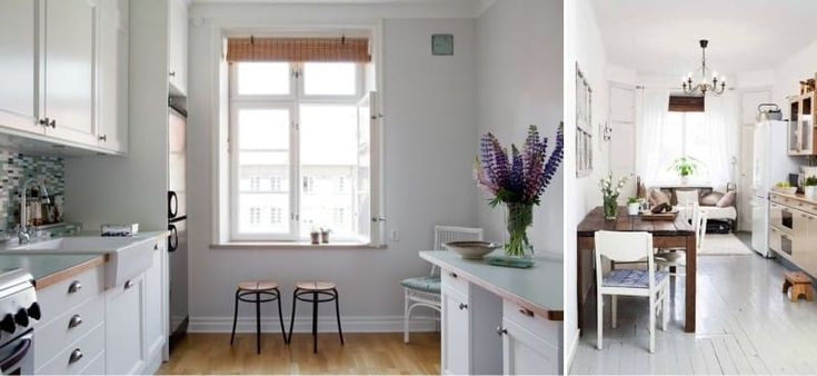 Бамбуковые рудонные шторы в интерьере кухни