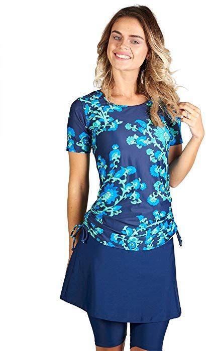 f63046d8bab8a Amazon.com: Ella Mae Womens Modest Swimsuit with Short Sleeve Rash Guard  Swim Shirt and Swim Skirt with Knee Length Leggings (S-XXXL): Clothing
