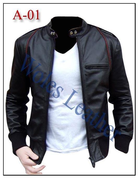 Jaket Kulit Pria A-01; Material: Kulit domba asli; Asesoris: YKK original...