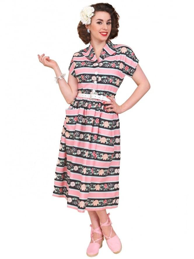 ee9e954324e 50s-1950s-Vivien-of-Holloway-Best-Vintage-Reproduction -Kitty-Day-Dress-Seashell-Stripe-Pink-Black-Rockabilly-Swing-Pinup