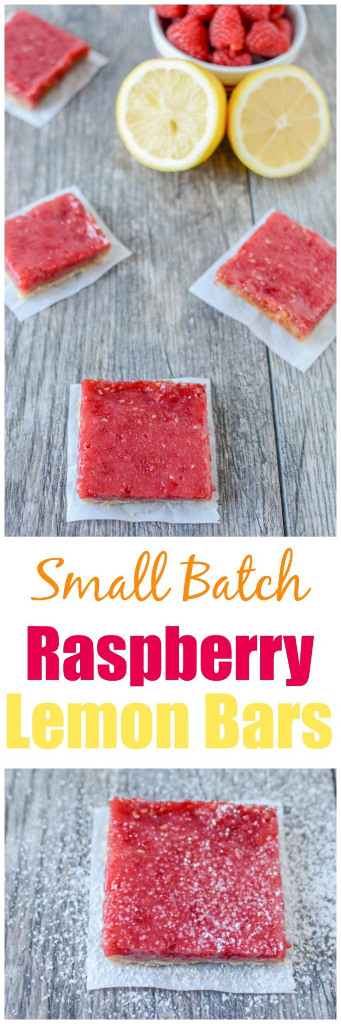 These Small Batch Raspberry Lemon Bars are the perfect dessert. Bursting with flavor, they're easy to make and a small batch means there's just enough to enjoy, without going overboard!