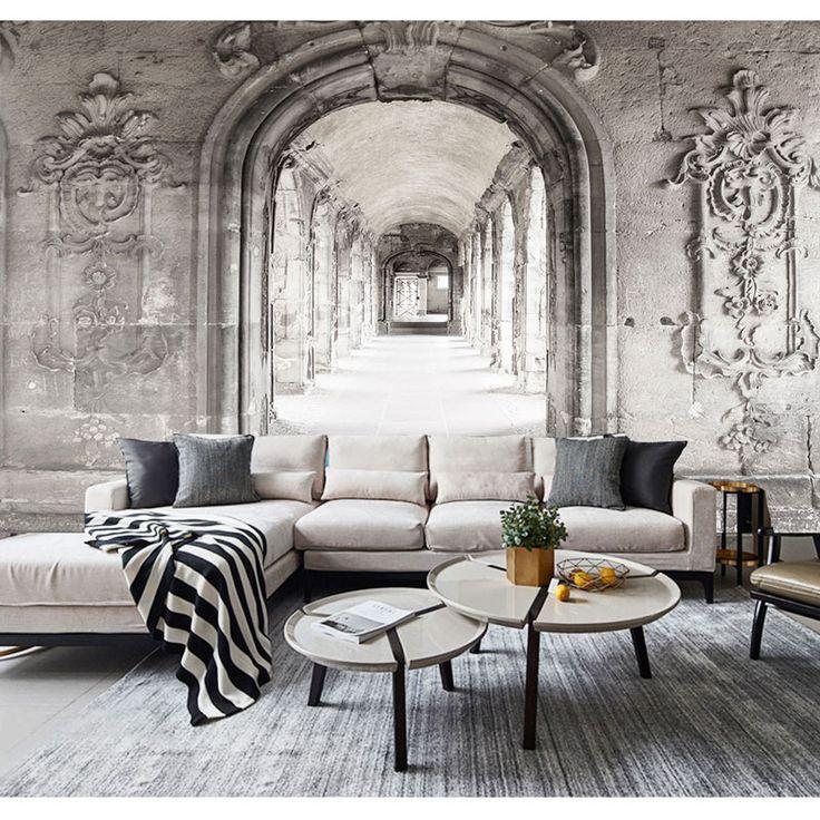 Papier peint Trompe l'oeil Couloir Marbre Parisien