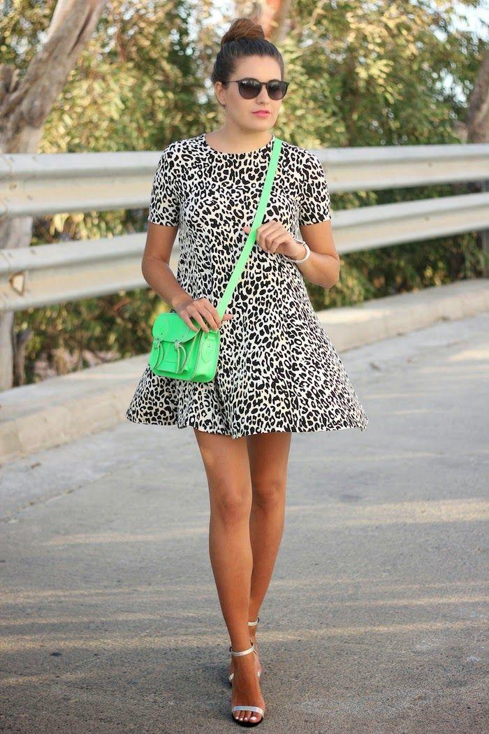 Vestido De Leopardo Satchel neón