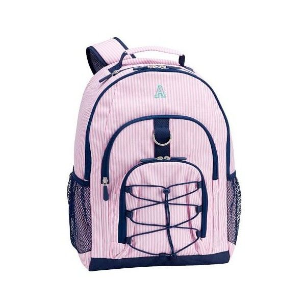 PB Teen Gear-Up Pink Mini Stripe Backpack ($24) ❤ liked on Polyvore featuring bags, backpacks, laptop backpacks, water bottle backpack, pink backpack, pink drawstring backpack and pink laptop backpack