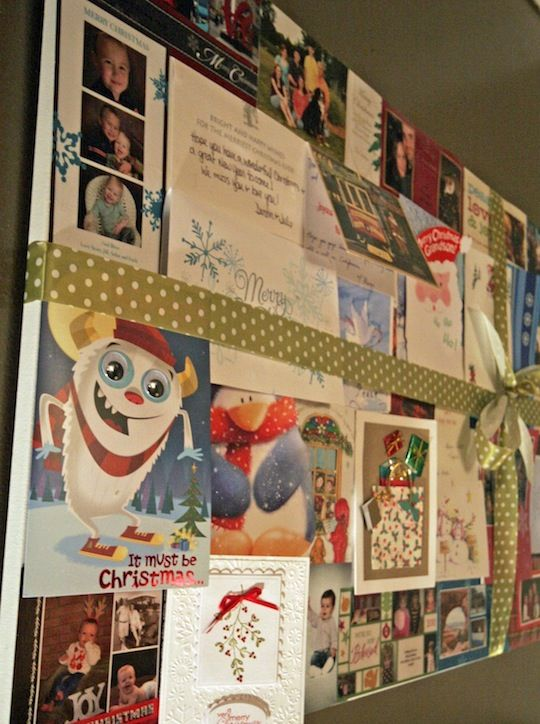 Recycled holiday Christmas card decor - now you know what to do with those Christmas cards for next year!