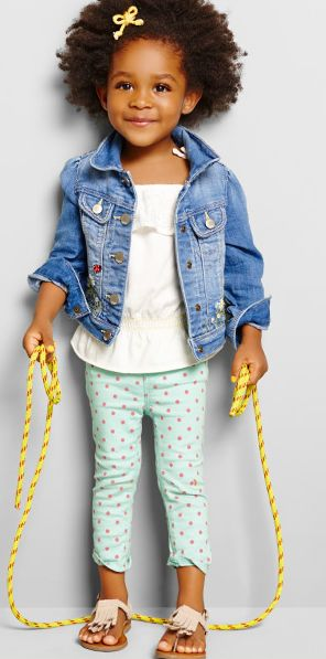Polka dot tights with solid color too and jean jacket