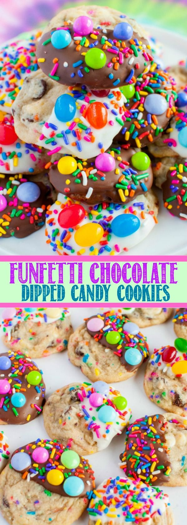 Funfetti Candy Cookies - soft, chewy cookies dipped in chocolate, sprinkles, and candy! Great for Easter dessert, birthday treats, celebrations and parties!