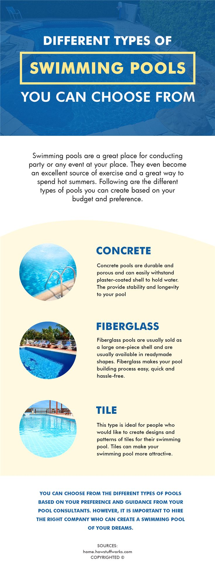 Swimming pools are available in different types namely in concrete, fiberglass, vinyl or with tiles. You can choose from the one which best suits your requirements.