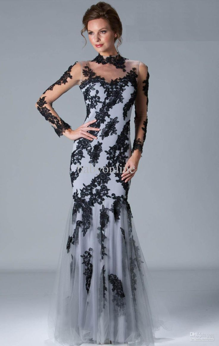 DHgate 2013 Sexy DHgate Long Sleeves Black Lace Evening Dresses Mermaid Prom Dresses 6055