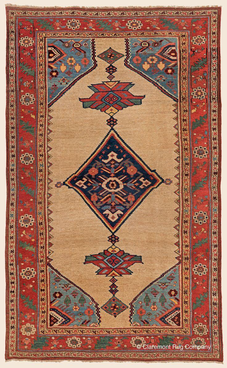 Antique Circa 1900 High Decorative Northwest Persian Bijar Camelhair Rug X Claremont  Rug Company