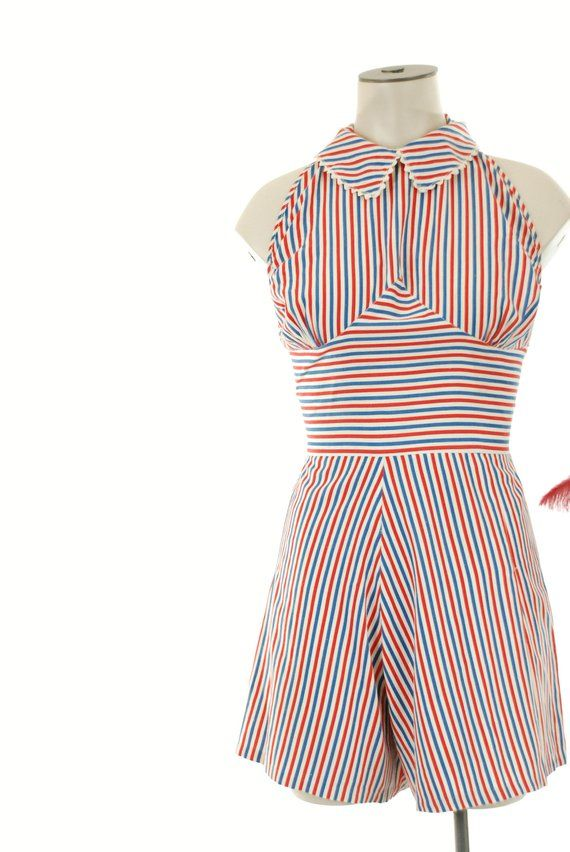 978526e6c2d0 Vintage 1940s Playsuit Charming Red White and Black Striped ...