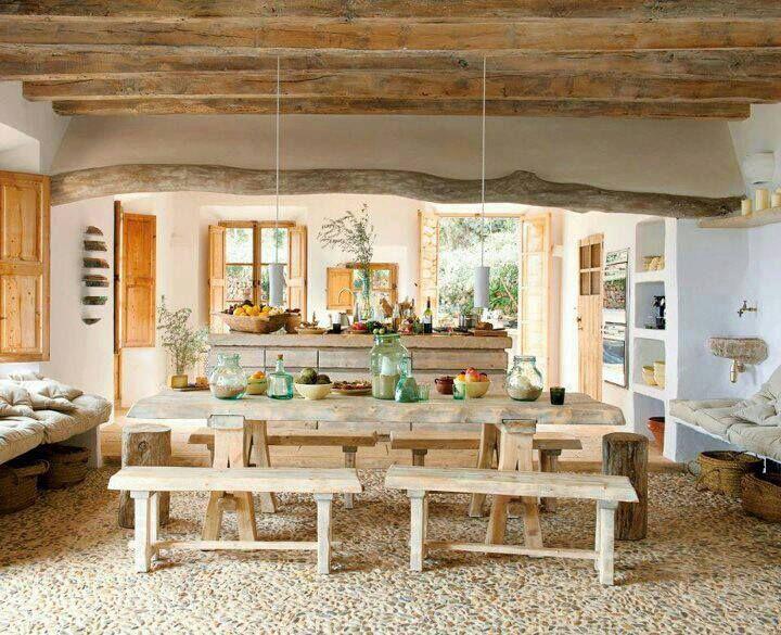 COB KITCHEN whitewash minimalist exotic bohemian Spanish Moorish white wood natural