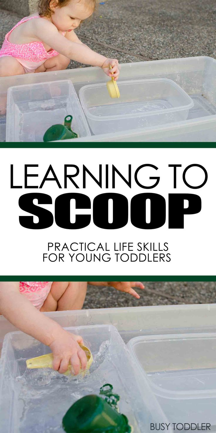 Learning to Scoop: a practical life skill; introduce pouring to your toddler; easy toddler activity