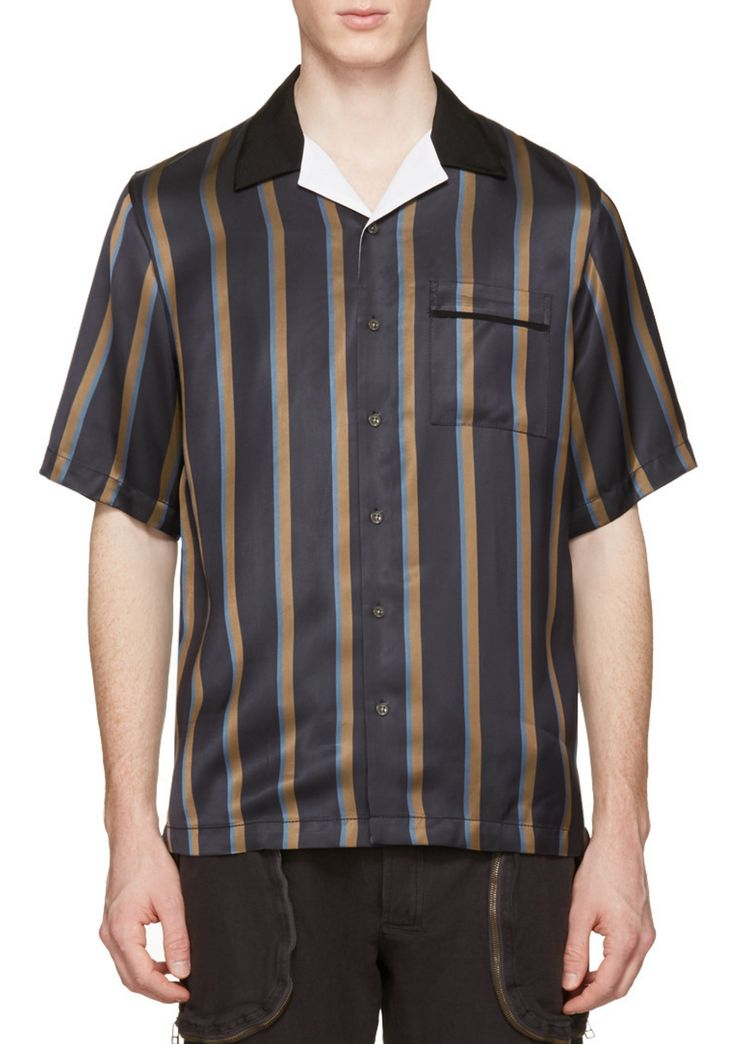 3.1 Phillip Lim Navy Striped Pyjama Shirt from SSENSE (men, style, fashion, clothing, shopping, recommendations, stylish, menswear, male, streetstyle, inspo, outfit, fall, winter, spring, summer, personal)