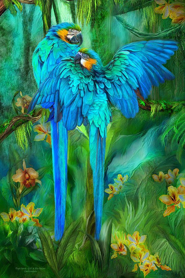 Tropic Spirits - Gold And Blue Macaws Mixed Media