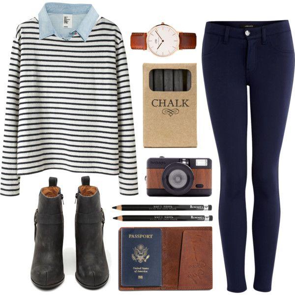 Outfit for school / tenue d'ecole/college/lycee ( chemise bleu ciel ~ pull marinière ~ jegging bleu ~ boots noires ~ montre )