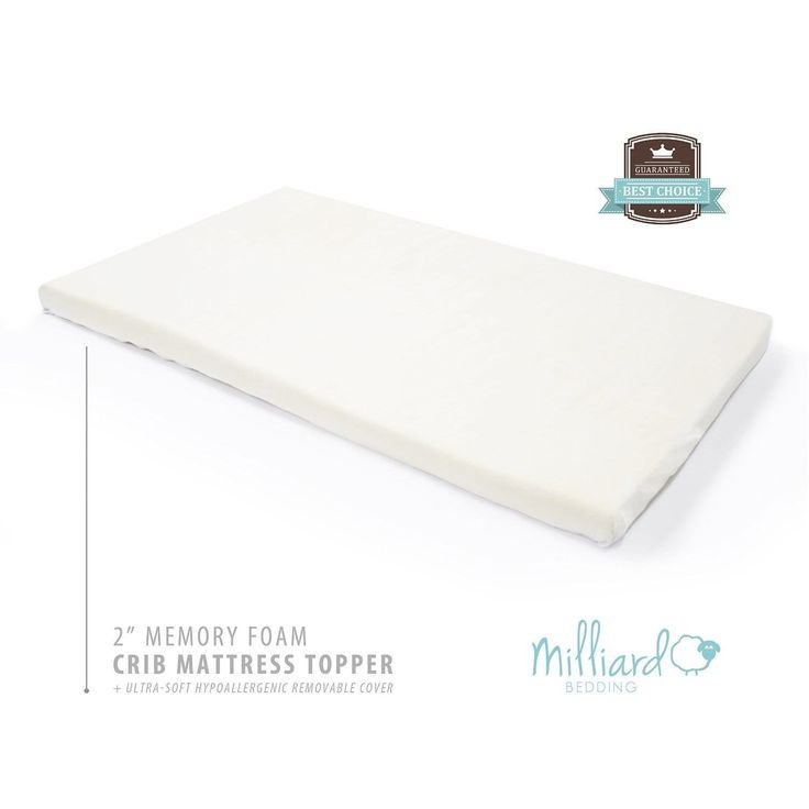 Milliard 2 Inch Ventilated Crib Toddler Bed Mattress Topper With Removable Waterproof Cover