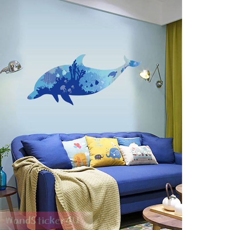 Wandtattoo Delfin Wandsticker Badezimmer Aquarium Fisch Aufkleber Unterwasser XL