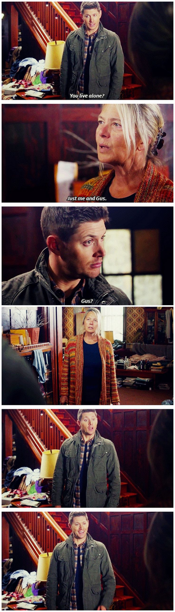 [gifset] 10x19 The Werther Project. Dean was so cute and uncomfortable around this lady. XD