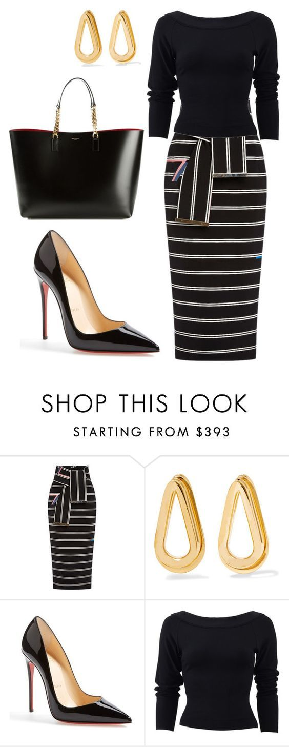 """""""style theory by Helia"""" by heliaamado on Polyvore featuring moda, Preen, Annelise Michelson, Christian Louboutin, Donna Karan e Yves Saint Laurent"""