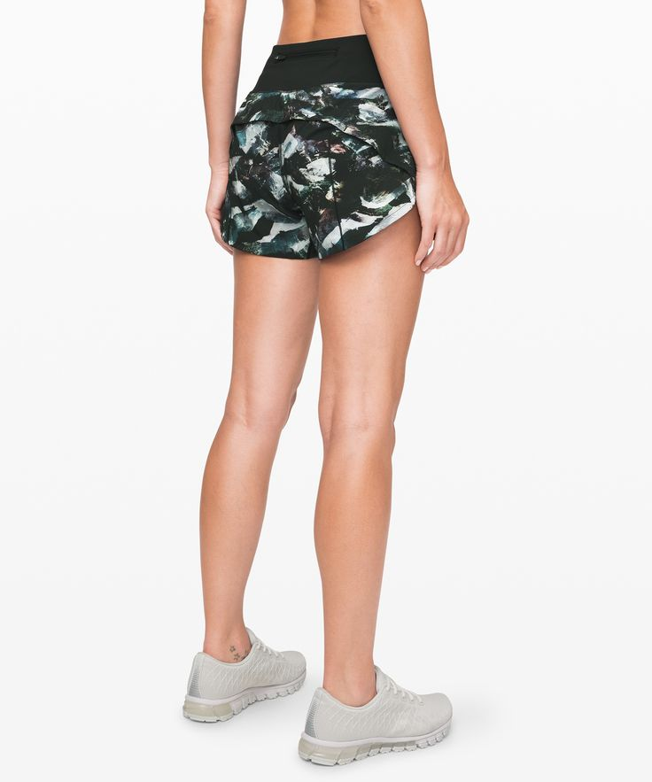 lululemon Women's Speed Up Short Long 4″ Updated Fit, Glacier Camo Starlight Multi/Black, Size 8  – Products