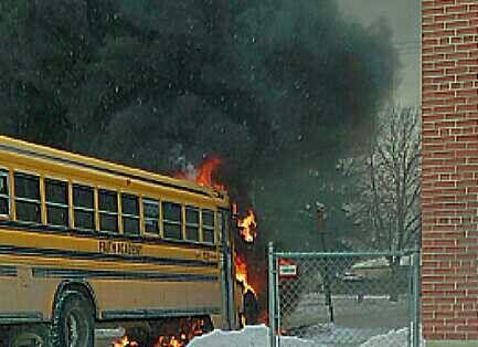 #Winnipeg school bus caught fire