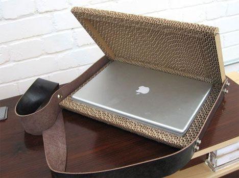 corrugated cardboard laptop case macbook pro design