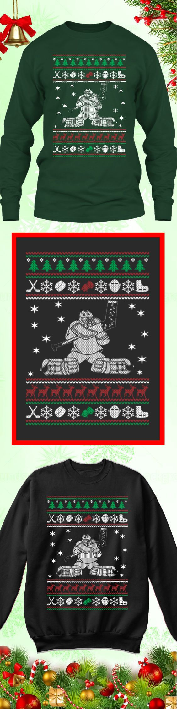 Need a last minute Christmas Gift? Get this limited edition Hockey Goalie Ugly Christmas Sweater while supplies last! Buy 2 or more, save on shipping!