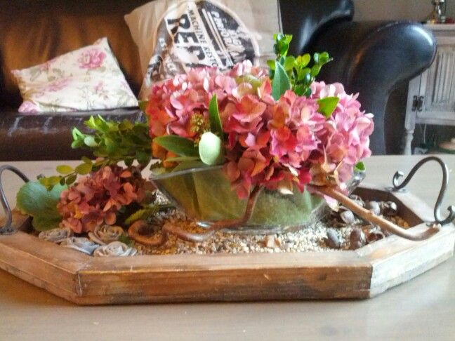 Van hortensia een gezellig bloemstuk maken. Heel makkelijk. Je hebt nodig... Hortensia; grote bladeren ( bv schoenlapper) ; wat buxus takjes en ondergrond met een ovale schaal. De grote bladeren onderin de schaal; oase erop; en steek dit vol met de hortensia en buxus. Als j een ondergrond hebt kan je nog een toefje bloem met tak ernaast leggen.