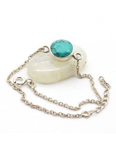 Bracelet fin en argent et turquoise