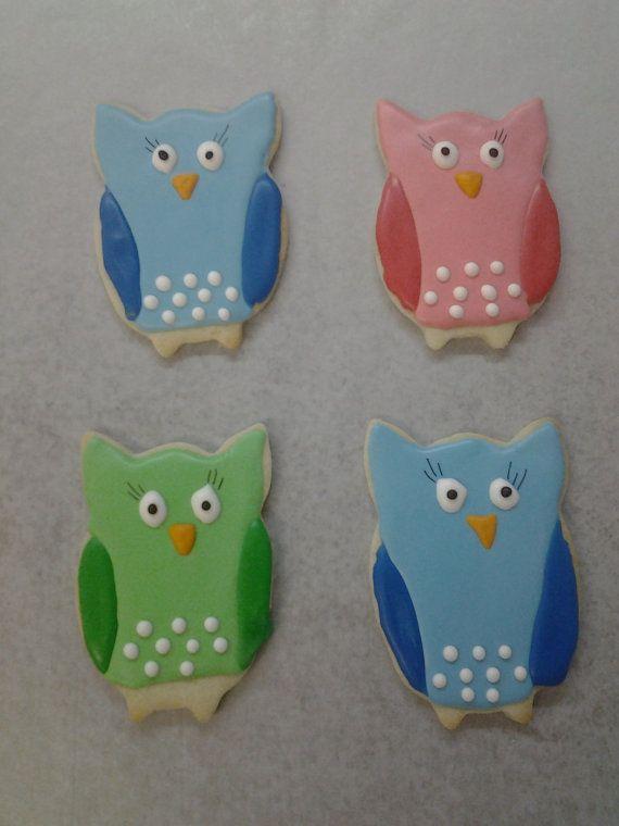 Owlies  One Dozen 12 pcs. Owl Sugar Cookies by MadameGingerbread