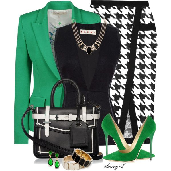 Houndstooth Skirt And Reed Krakoff Bag, created by sherryvl on Polyvore