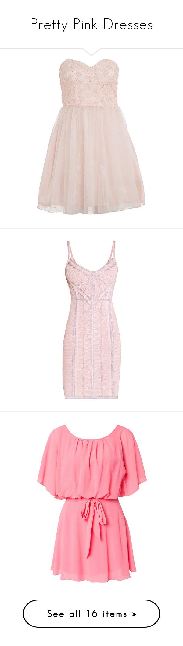 """""""Pretty Pink Dresses"""" by whims-and-craze ❤ liked on Polyvore featuring dresses, vestidos, robe, short dresses, sequin mini dress, floral prom dresses, sequin party dresses, short party dresses, pink party dresses and pink bandage dress"""