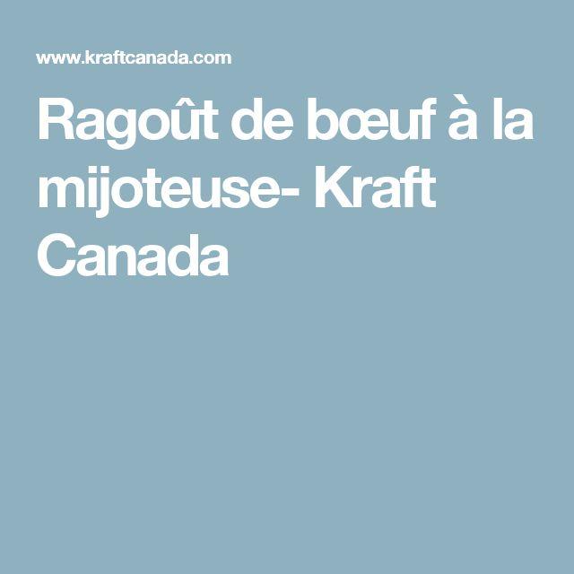 Ragoût de bœuf à la mijoteuse- Kraft Canada