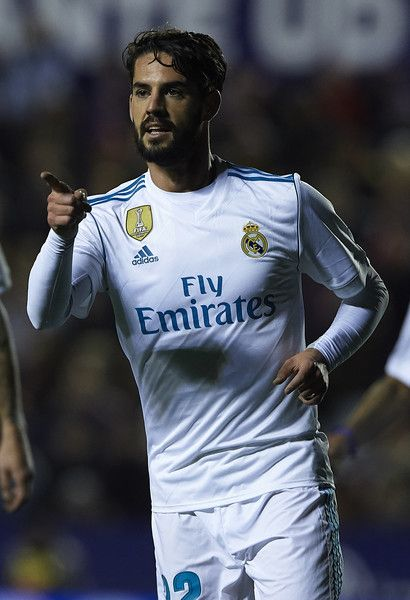 Isco of Real Madrid celebrates after scoring his sides second goal during the La Liga match between Levante and Real Madrid at Ciutat de Valencia on February 3, 2018 in Valencia, Spain.