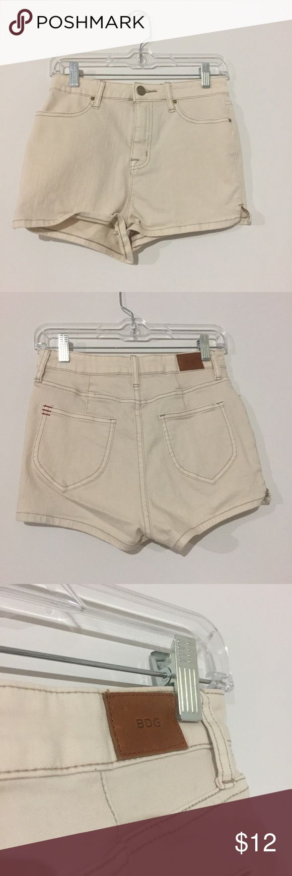 BDG Cream Shorts Like new cream colored jean shorts. Super high rise in a size 26. BDG Shorts Jean Shorts