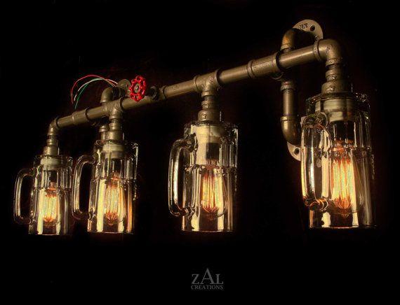 New 3 Light Bathroom Vanity Lighting Fixture Antique Brass: Vanity Lamp. Picture Light. Beer Bottles, Plumbing Pipe