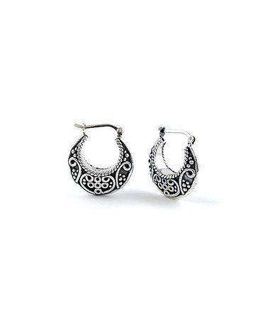 Look what I found on #zulily! Oxidized Sterling Silver Filigree Hoop Earrings #zulilyfinds