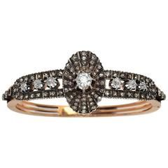 Antique 19th Century French Diamond Silver Gold Bangle Bracelet