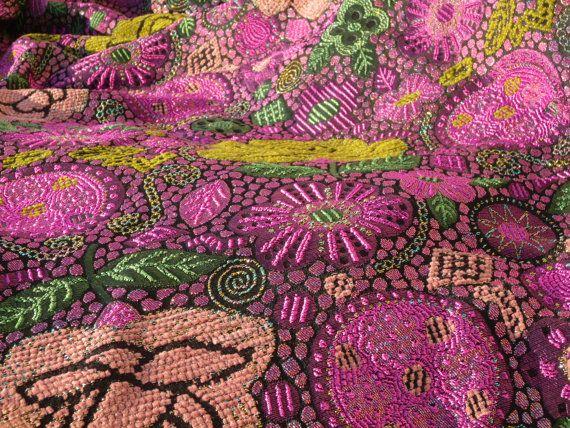 Purple  Wool Blend Brocade Fabric with Silver by NastasiaAbeida, €34.00