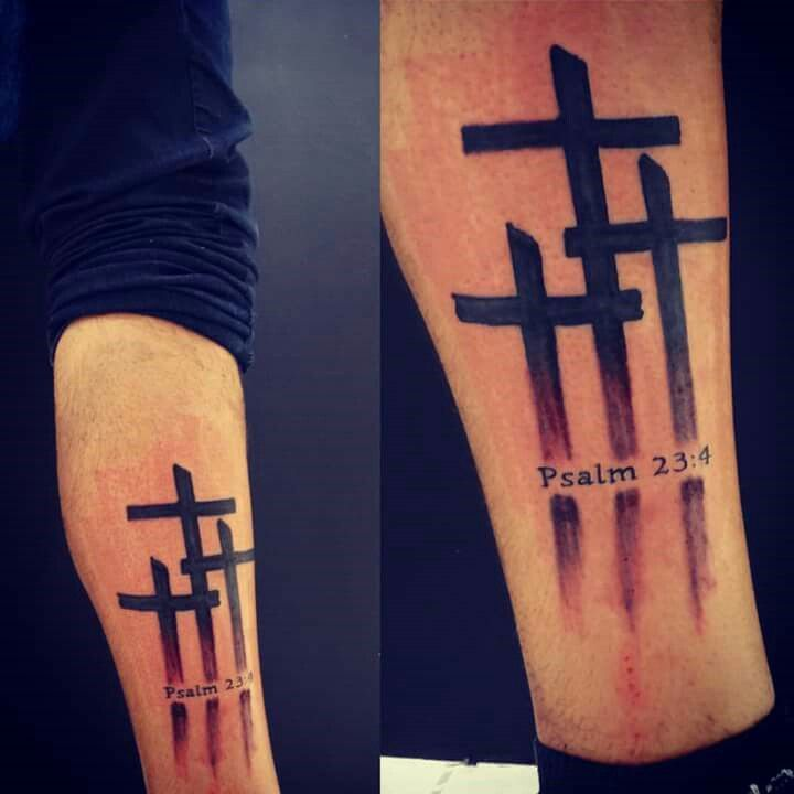Three Cross Tattoo - Psalm 23:4