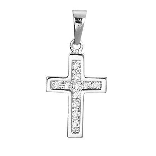 MATERIA 925 Sterling Silber Kreuz Anhänger rhodiniert mit 11 Zirkonia Steinen für Halskette / deutsche Juwelieranfertigung #KA-31